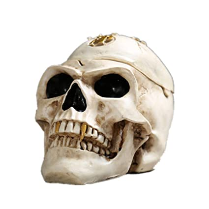 xie Spooky Human Skull Ashtray with Cover for Scary Halloween Decorations and Decorative Skulls & Skeletons