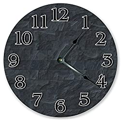 10.5 CHARCOAL WALL BRICKS CLOCK - Large 10.5 Wall Clock - Home Décor Clock