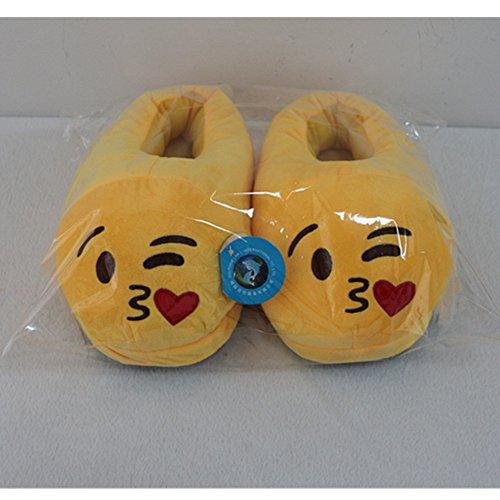 Dolphineshow Schattige Emoji Winter Kak Vormige Schoenen Unisex- Volwassen Slippers Emoji Dingen Pluche Pop Speelgoed (kak) Kus