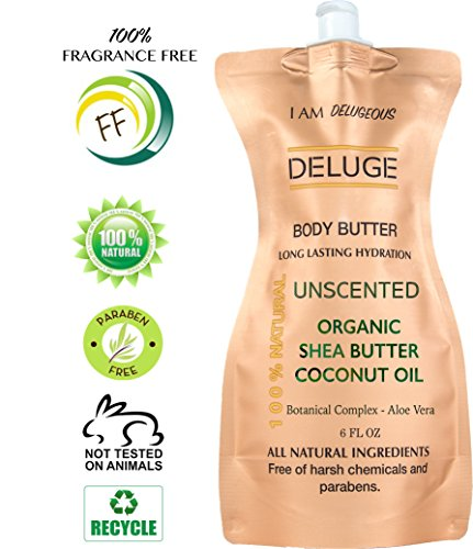 DELUGE - UNSCENTED BODY BUTTER, with Organic Shea Butter, Coconut Oil, Aloe Vera and Vitamin E. FRAGRANCE FREE BODY - Oil Type Body