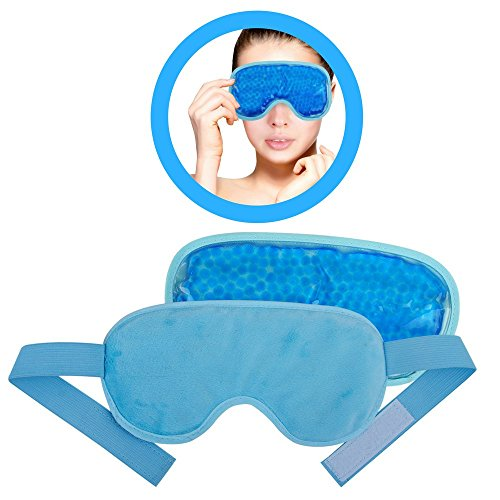 Blue Eye Mask Gel (Ice Eye Mask by FOMI Care | Cooling Technology For Relaxing Sleep | Blackout for Airplane Travel | Migraine Headache, Eye Puffiness, Dark Circle Relief | Reusable Ankle Wrap | Fabric Backing (Blue))