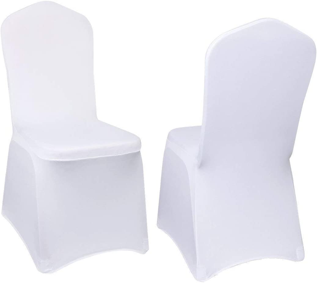 Amazon Com Vevor 100 Pcs White Chair Covers Polyester Spandex Chair Cover Stretch Slipcovers For Wedding Party Dining Banquet Flat Front Chair Covers Home Kitchen