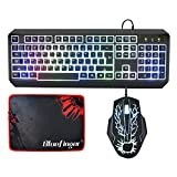 Bluefinger® LED Backlit Rainbow Keyboard And Mouse Set Combo With Bluefinger Customized Gaming Mouse Pad