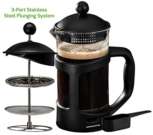 Ovente French Press Cafetière Coffee and Tea Maker, Heat-Resistant Borosilicate Glass, 34 oz (1005 ml), 8 cup, Black (FPT34B), FREE Measuring Scoop ()