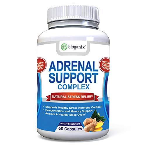 BioGanix Adrenal Support Supplement with Ashwagandha, Ginseng, Gotu Kola and Licorice Root Herbal Complex for Men & Women, 60 Capsules