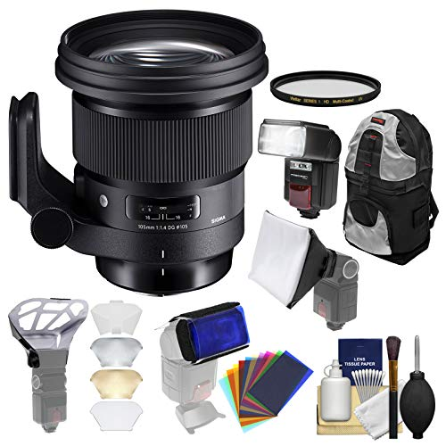 Sigma 105mm f/1.4 Art DG HSM Lens with Filter + Backpack + Flash & Diffusers + Kit for Sony Alpha E-Mount Cameras