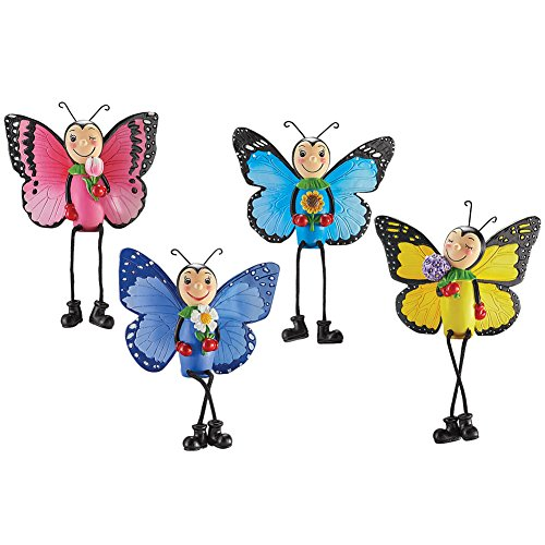 Set of 4 Butterfly Dangling Leg Sitters Collectible Figurines