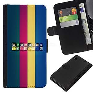 KLONGSHOP // Tirón de la caja Cartera de cuero con ranuras para tarjetas - Generaciones de Game Boy - Sony Xperia Z2 D6502 //