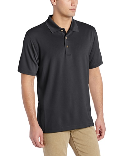 Cubavera Men's Essential Textured Performance Polo Shirt, Jet Black, X-Large