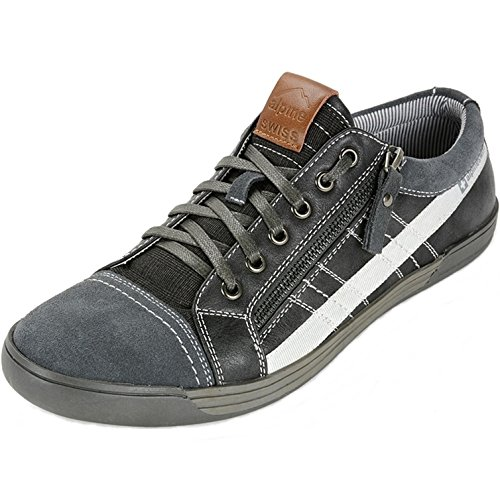 Mens Svizzera Alpina Valon Suede Assetto Sneakers Basse Top Fashion Grigie