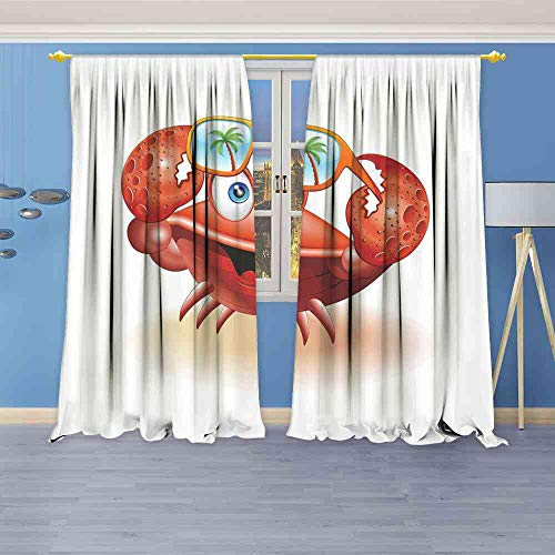 Tr.G Blackout Curtains Crabs,Comical Oceanic Character Looking Under His Sunglasses with Palm Trees,Vermilion Orange Blue Room Darkening Wide Curtains W84 x L108(214cm x 274cm) (214 Sunglasses)