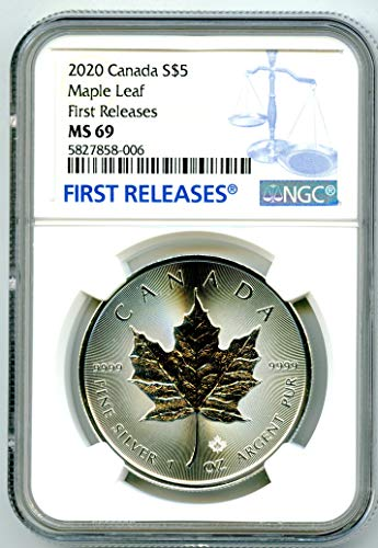 2020 CA CANADA 1 OZ SILVER MAPLE LEAF RARE FIRST RELEASES BLUE LABEL $5 MS69 NGC