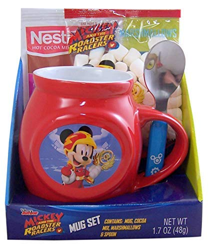 Disney Mickey and The Roadster Racers Mug with Hot Cocoa Mix, Marshmallows, and Spoon Gift Set