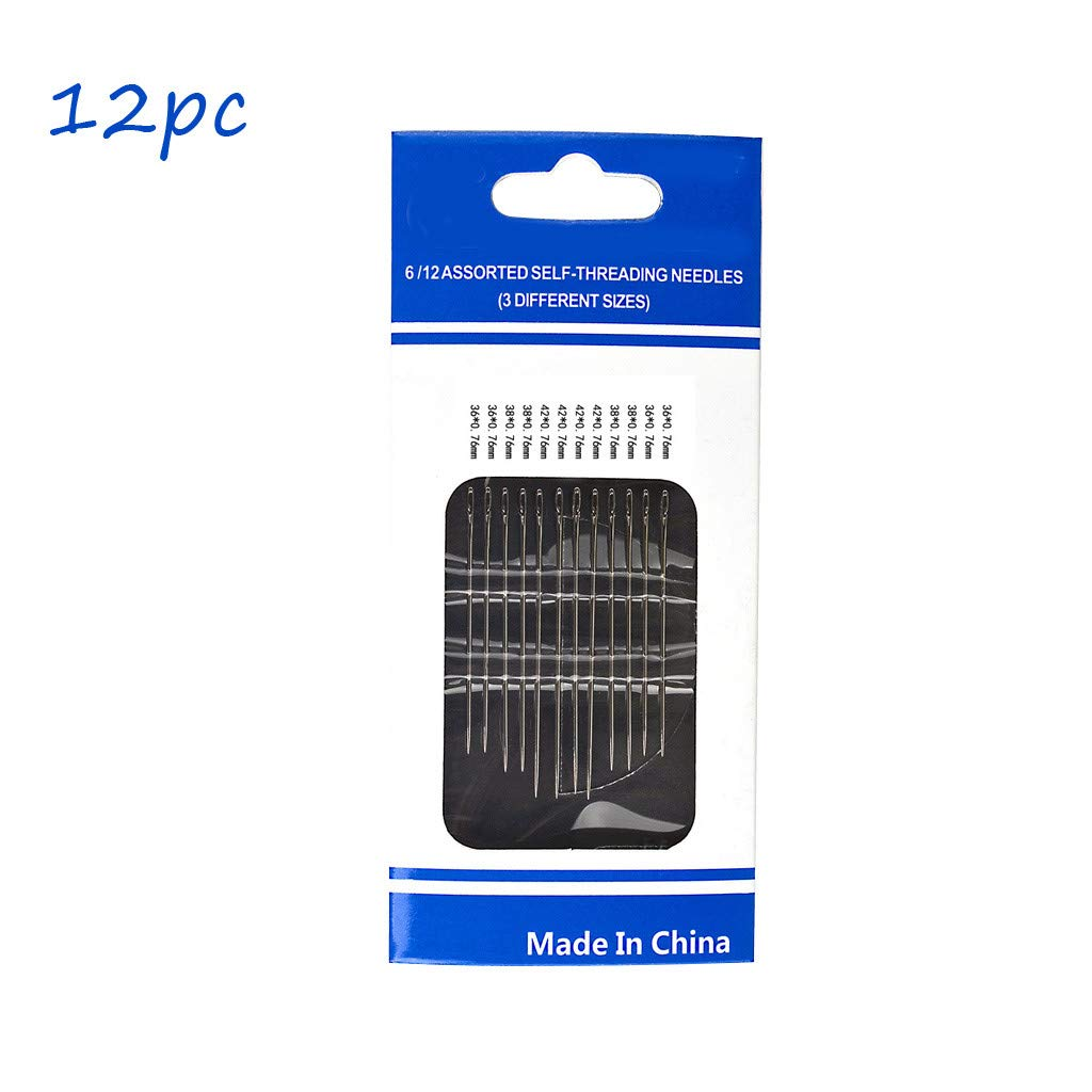 Super Bally Self-Threading Needles 48 Pack Assorted Sizes Thread Sewing Stitching Pins 12PC//Pack