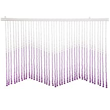 THY COLLECTIBLES Beautiful Home Decor Acrylic Beaded Valance Curtain Door Screen Divider - Acrylic Purple & Crystal Clear Teardrop