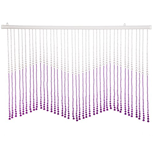 THY COLLECTIBLES Beautiful Home Decor Acrylic Beaded Valance Curtain Door Screen Divider - Acrylic Purple & Crystal Clear (Beaded Valance)