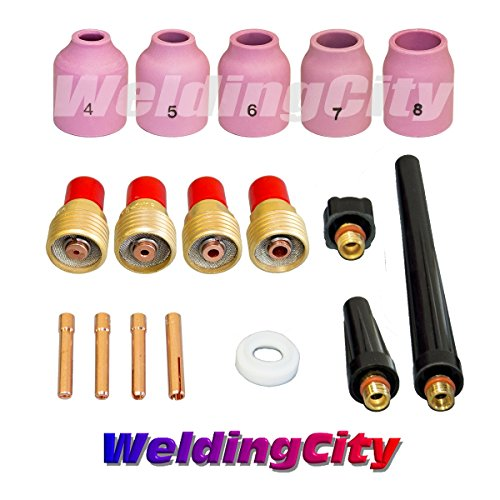 (WeldingCity TIG Welding Accessory Kit Cup-Gas Lens-Collet-Gasket-Back Cap 0.040