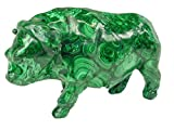 Hand Carved Zaire Africa Malachite Water Buffalo Lapidary 6.8'' X 3.1'' X 4.2'' Tall Carving