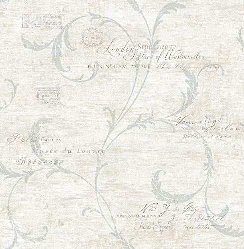 Vintage Scroll Wallpaper in Vintage Blue MV82108 from Wallquest