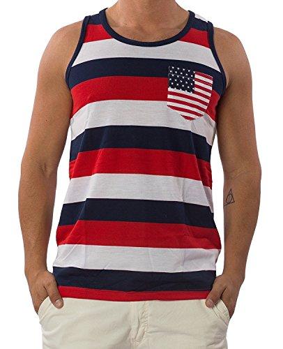Pacific Surf Men's Tank Top Pocket Shirt MT451 Red/Navy M