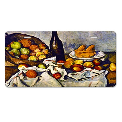 Apple Basket (Cezanne) Car Aluminum License Plate (Cezanne Basket Of Apples)