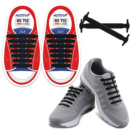 Homar Kids Elastic Athletic Flat No Tie Shoelaces – Best in Sports Outdoors Fan Shop Footwear Shoelaces – Once and for All Silicon Shoe Laces Perfect for Sneaker Boots Oxford and Casual Shoes – Black
