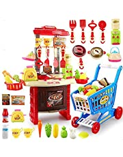 Big kitchen cook set with Supermarket Shopping Trolley for Kids