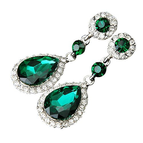 Dangle Earrings for Wedding, Elogoog Classic Silver Zircon Cubic Crystal Rhinestone Drop Earrings Hypoallergenic Earrings Womens Bridal Jewelry (Green)
