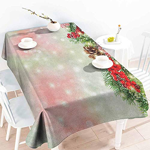 """familytaste Christmas,Table Cover for Dinner Kitchen Evergreen Fir Branches with Red Ripe Holly Berries Blurred Backdrop Garland 70""""x 90"""" Fabric Print Tablecloth"""