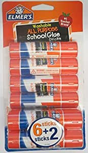 Elmer's Pack of 8 All Purpose Washable Glue Sticks School Supply