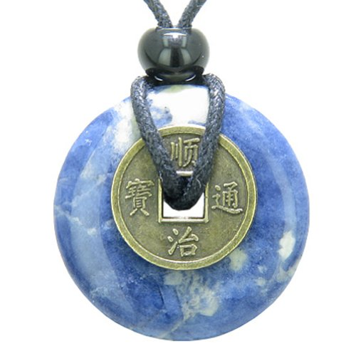 Antique Lucky Coin Good Luck Powers Amulet Sodalite Gemstone 30mm Donut Pendant (Good Luck Gemstones)