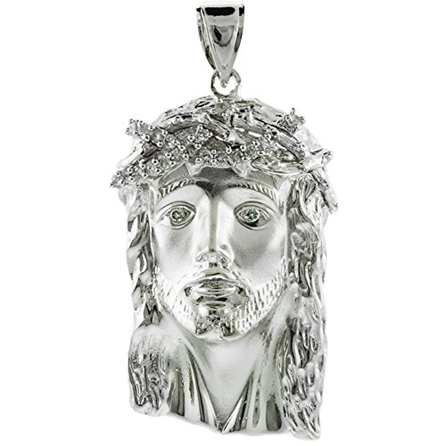 Iced-out CZ Jesus Face Pendant in 10k White
