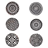 Printing Block Textile Round and Floral Wooden Stamps for Scrapbook Heena Tattoo Clay Pottery Blocks Set of 6