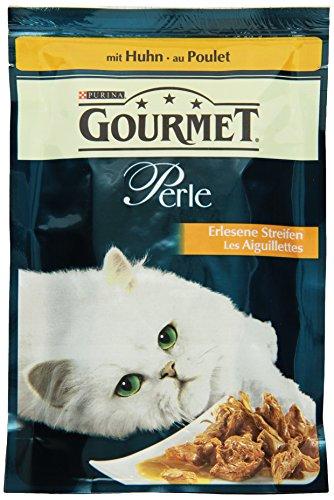 Gourmet Perle Katzenfutter Erlesene Streifen mit Huhn, 24er Pack (24 x 85 g) Beutel