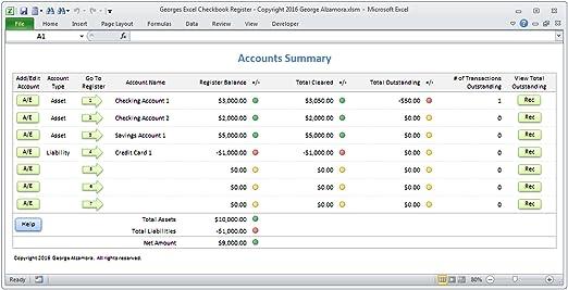 Amazon.com: Georges Excel Checkbook Register v3 - Checkbook ...