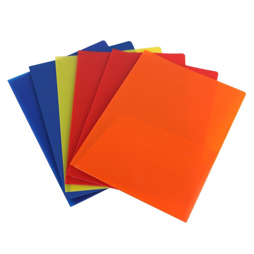 Eagle Plastic Pocket Folder, Heavy Duty with 2 Pockets, Letter Size, Assorted Colors, Pack of 6 (2-Pocket Folder) by Eagle