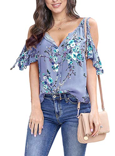 (Asvivid Womens Casual Floral Printed Frill Short Sleeve Tops Summer V-Neck Open Shoulder Cotton Shirt Blouses M Blue)