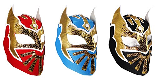 3 pack SIN CARA Youth Lucha Libre Wrestling Mask - KIDS Costume Wear - Party Pack - Black/Blue/Red -