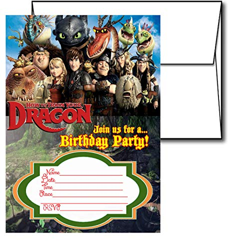 Crafting Mania LLC. 12 How to Train Your Dragon Birthday Invitation Cards (12 White Envelops Included) #2]()