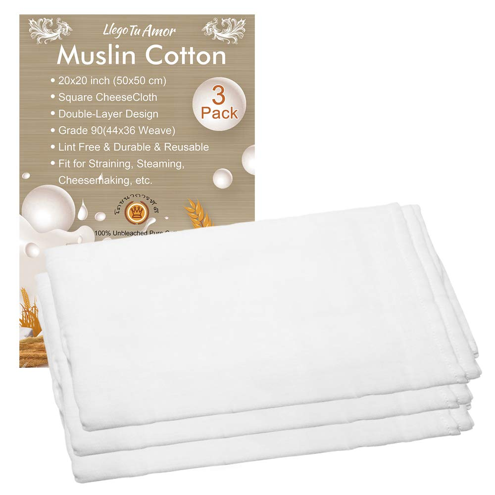 3 Pack Dual Layer Design Pure Cotton Muslin Cloths for Straining, Ultra Fine Soft Square Grade 90 Cheesecloth (50 x 50 cm), Cheese Cloths Muslin Cloth Weave Fabric Filter for Cooking, Baking