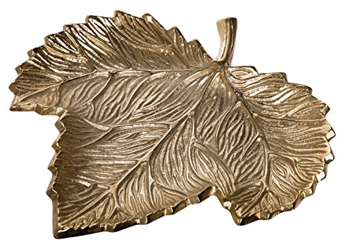 Red Co. Gilded Aluminum Leaf Tray, Decorative Centerpiece Dish, 10-inch