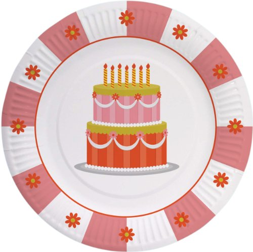 """Party Partners Design Retro Sweet Soiree Themed 8"""" Round Pap"""
