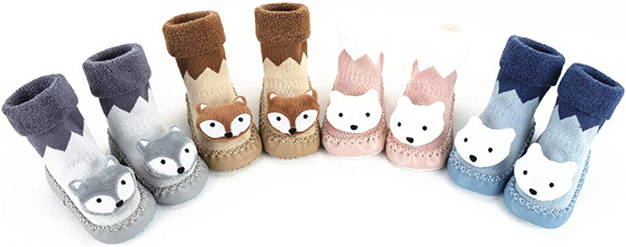 Infant Baby Boy Girl Cartoon Moccasins Non Slip Indoor Slippers Sock Anti-slip k