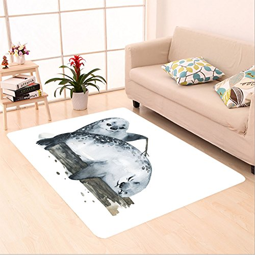 Sophiehome skid Slip rubber back antibacterial Area Rug illustration cute fur seals in watercolor style 551111872 Home Decorative