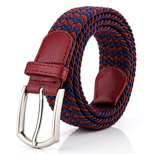 Braided Canvas Woven Elastic Stretch Belts for Men/Women/Junior with Multicolored (WineBlue, Small/28