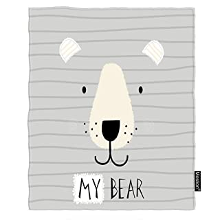Moslion Bear Blanket Cute Animal Cartoon Bear Face on Grey Stripes Throw Blanket Flannel Home Decorative Soft Cozy Blankets 40x50 Inch for Baby Kids Pet