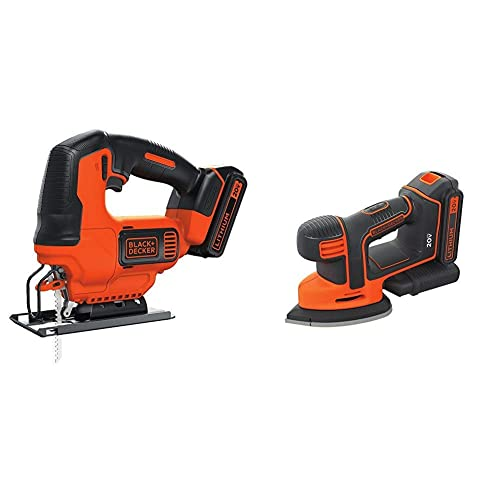 BLACK DECKER BDCJS20C 20V MAX JigSaw with Battery and Charger with BLACK DECKER BDCMS20C 20V MAX Lithium Ion MOUSE Sander