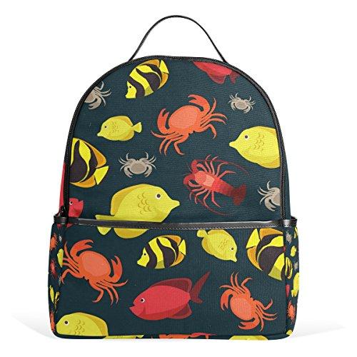 Aurelior Marine Life Fishes Crab Cray Laptop Backpack Casual Shoulder Daypack For Student School Bag Handbag   Lightweight