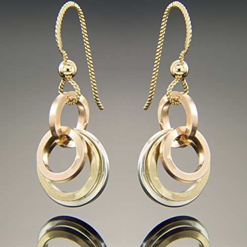 Dainty Tri Color Geometric Dangle Earrings in Sterling Silver Rose and Yellow Gold (Circle Tri Color Earrings)