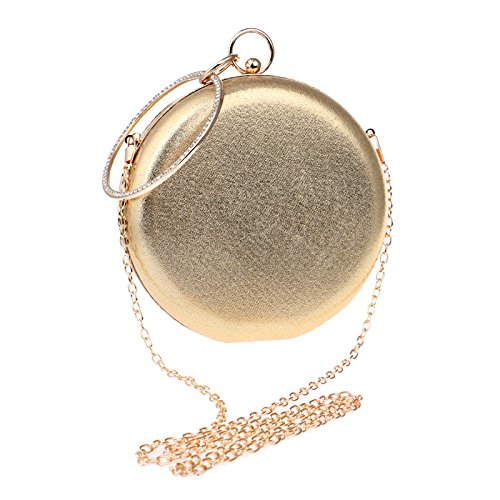 Prom Handbag Bag Synthetic For Shoulder Evening Clubs Bridal Clutch Ladies Gold Gift Party Women Purse Leather Bag Sparkly Circular Wedding zgI4xgZqw